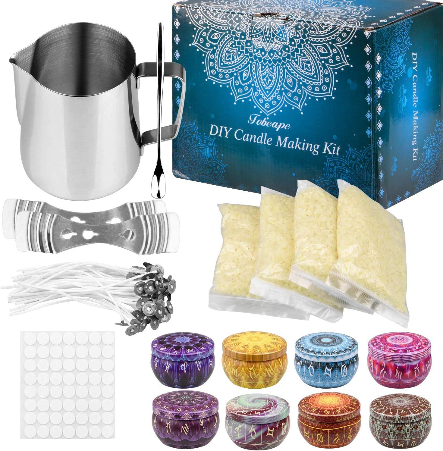 4 Pack Beeswax Beeswax DIY Candle Craft Tools Including with 1 Candle Make Pouring Pot 8 Candle Tins 50 Candle Wicks 56 Wicks Sticker Candle Making Kit Supplies