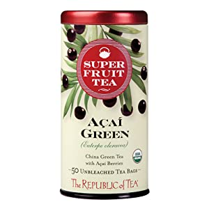 The Republic of Tea Acai Berry Green Tea - Caffeinated Superfruit - Natural Healthy Herbal Tea - Anti-oxidant, Gluten-Free - Acai Green Tea - 50 Tea Bags