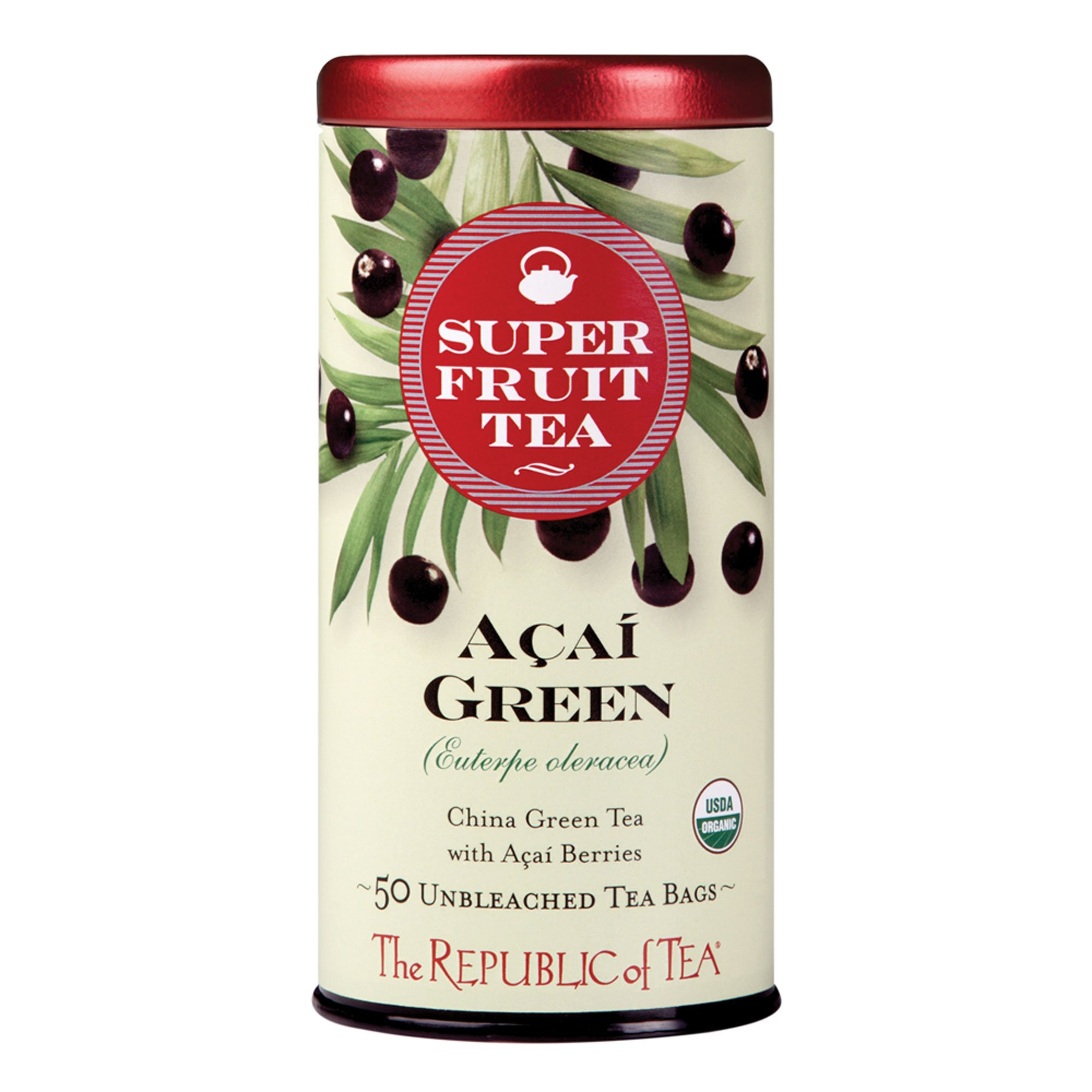 The Republic of Tea, Acai Green Tea Superfruit, Caffeinated, 50 Tea Bags