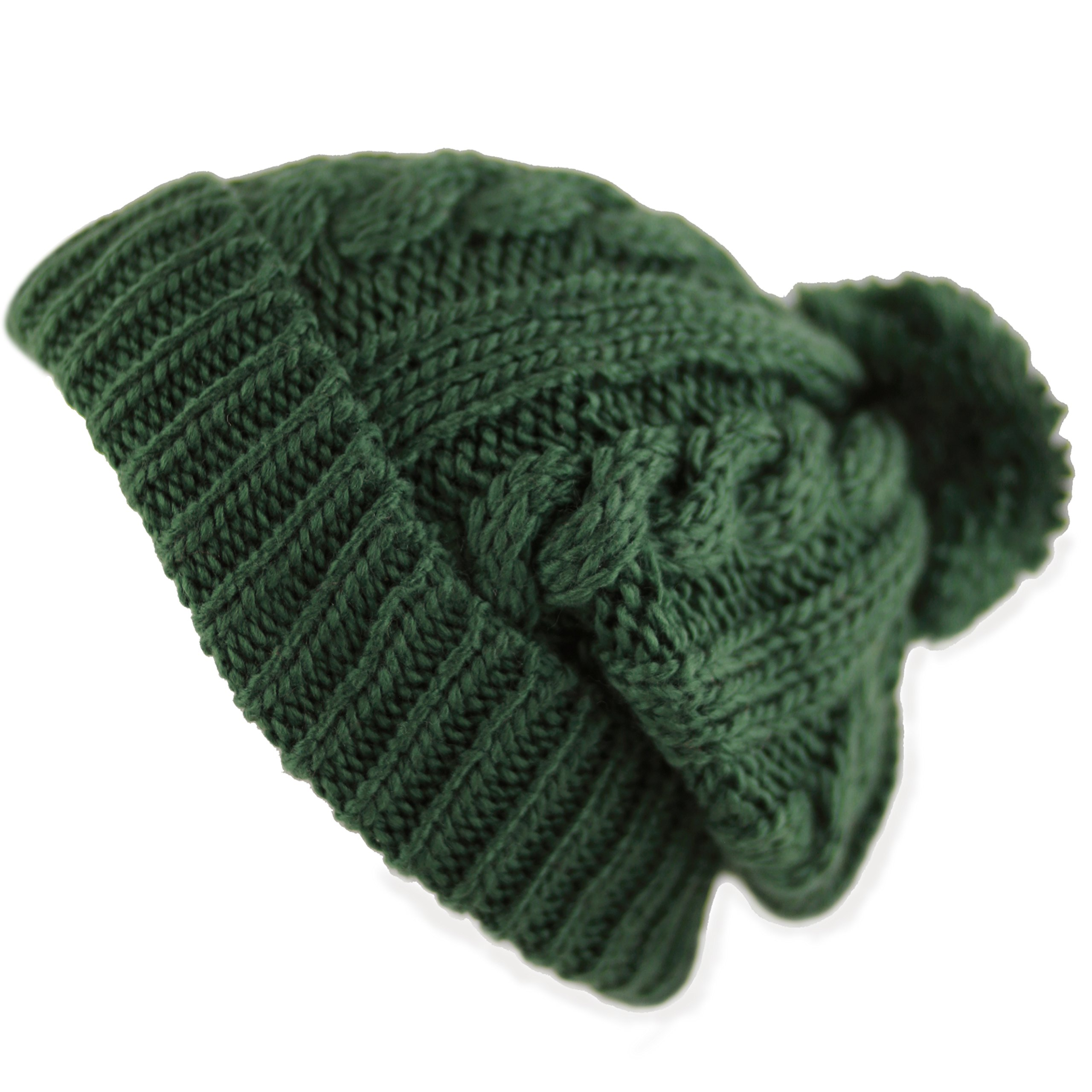 3715171229d THE HAT DEPOT Winter Oversized Cable Knitted Pom Pom Beanie Hat Fleece  Lining Hat product image