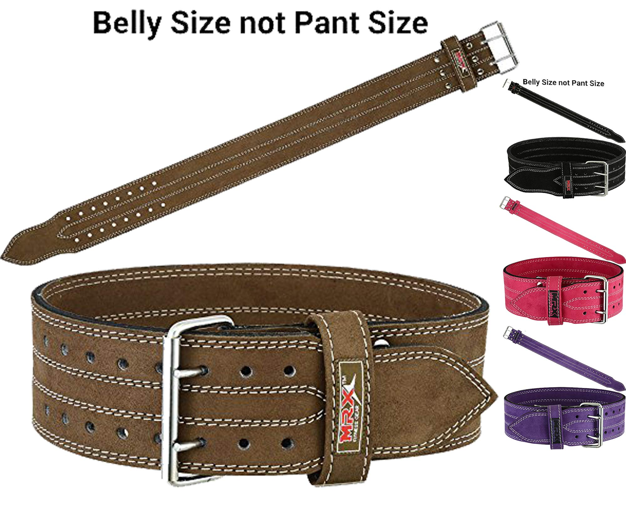 MRX Powerlifting Leather Belt 4'' Wide 10mm Thickness Training Fitness Back Support Bodybuilding Belts with Steel 2 Prong Buckle Brown (XXL)