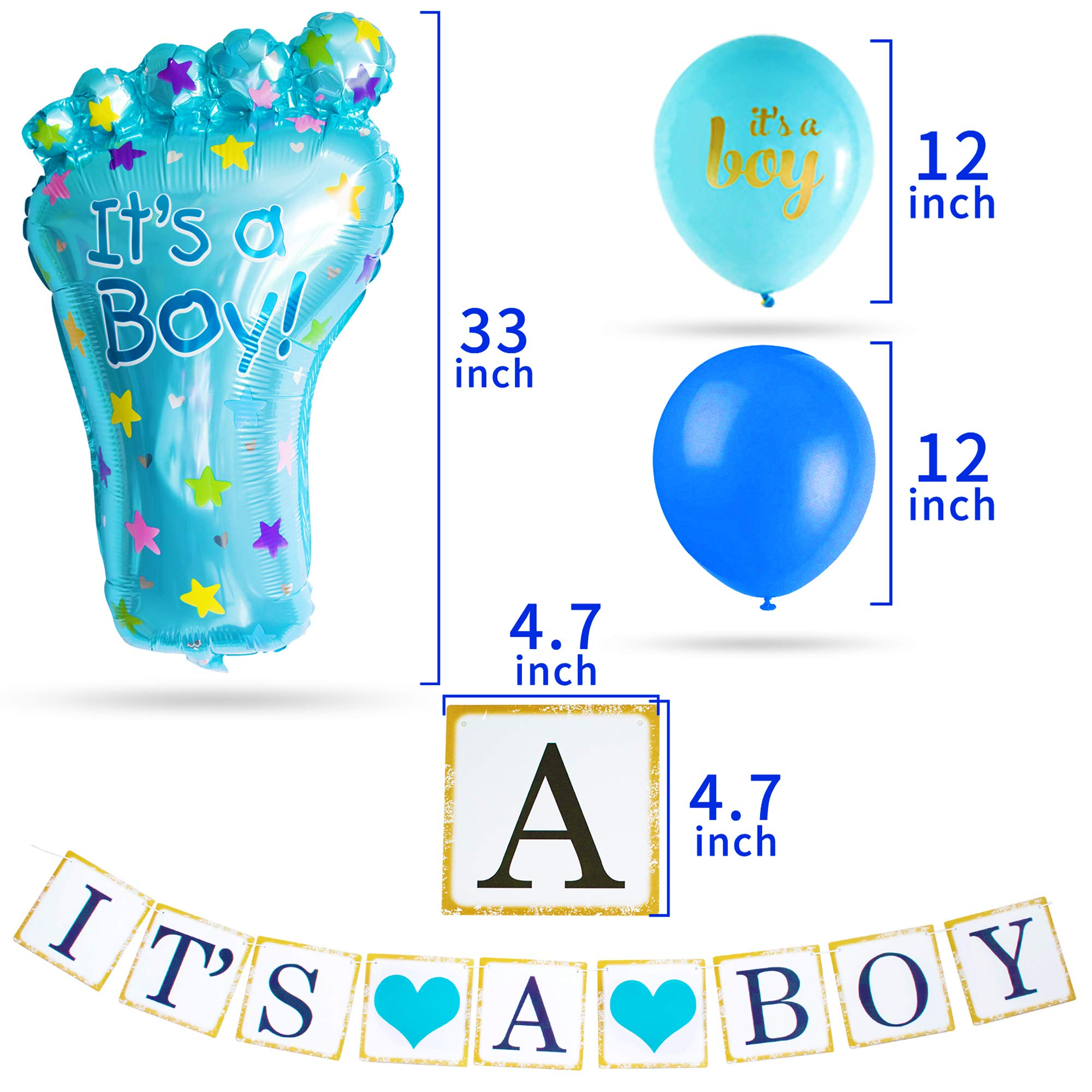 Baby Shower Decorations for Boy I BabyShower Backdrop Decor I Boy Baby Shower Decorations I Premium Party Decoration Items I Its a Boy Banner Star Swirls Foot-shaped Foil Balloon Lanterns, Cake Topper by Moment-O-Mania (Image #6)