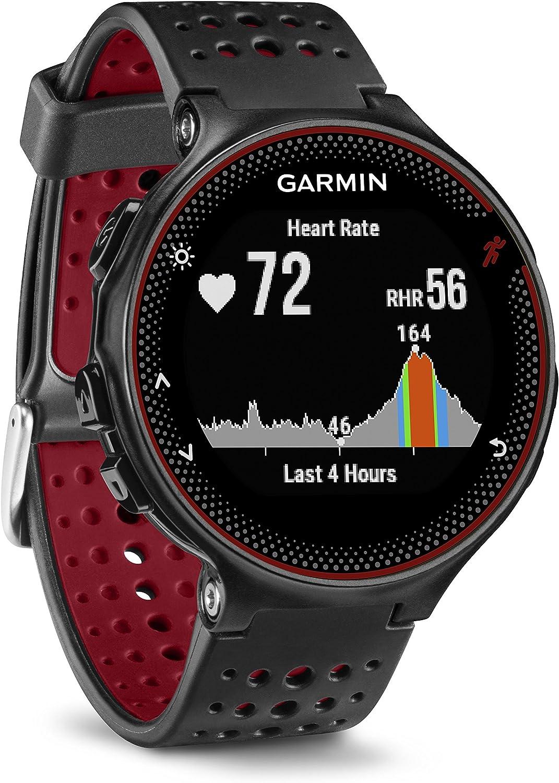 Garmin Forerunner 235 - Reloj con pulsómetro en la muñeca, Unisex, Color Negro y Rojo, Talla única (Reacondicionado)