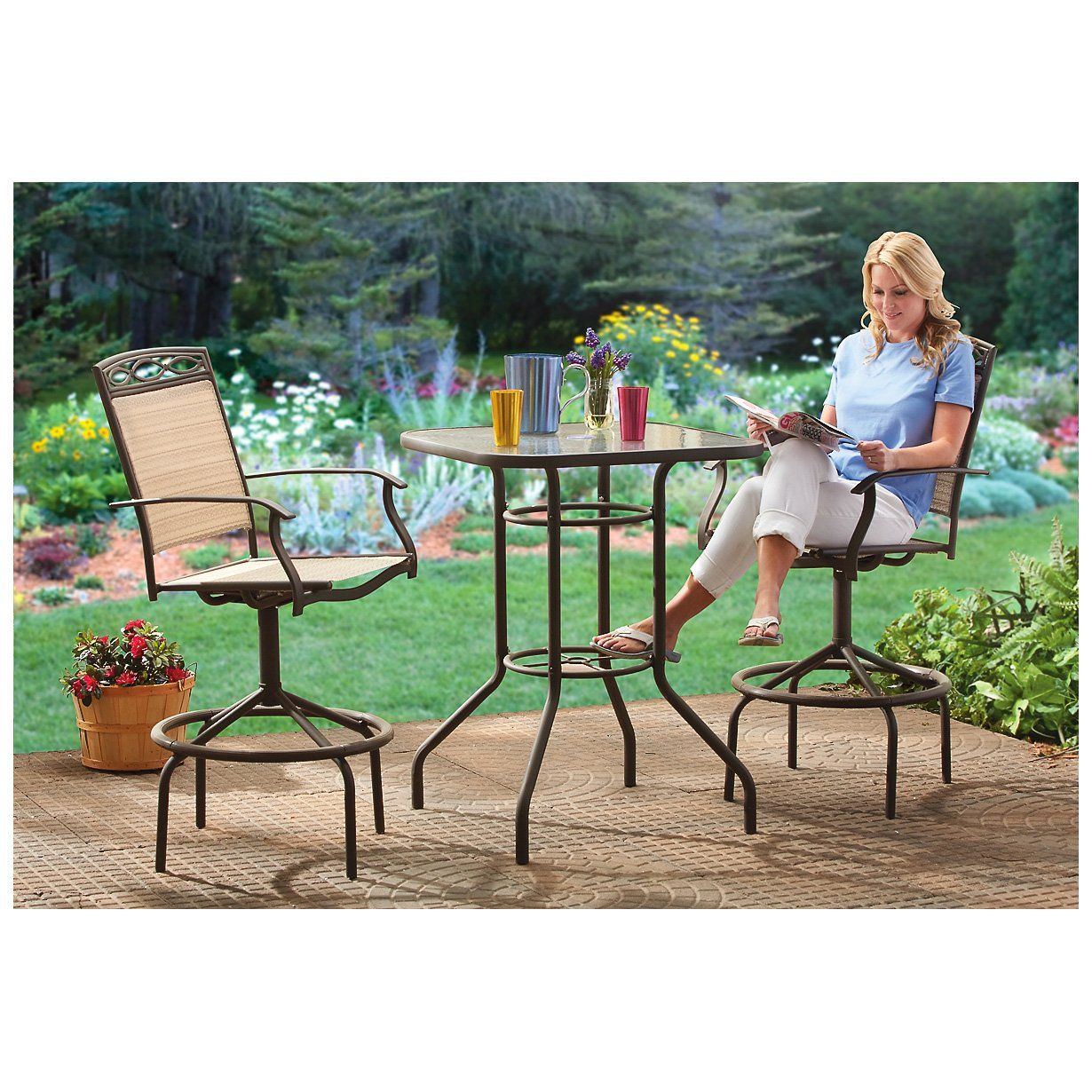 CASTLECREEK 3   Pc. Bar   Height Patio Furniture Set: Amazon.co.uk: Garden  U0026 Outdoors