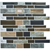"Crystiles Peel and Stick Self-Adhesive DIY Backsplash Stick-on Vinyl Wall Tiles for Kitchen and Bathroom Décor Projects, Item# 91010858, Multi-Color Marble Style, 10"" X 10"" Each, 6 Sheets Pack"