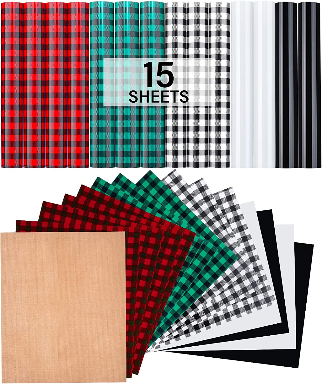"HTV Heat Transfer Vinyl,12""x10"" 15 Sheets Iron on Vinyl 1 Sheet Teflon PU Buffalo Plaid HTV- 5 Colors Suitable for Home Christmas Decoration T-Shirt Clothes Bag Hat Pillow Crafts"