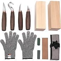 Wood Carving Tools Set of 11- Includes Black Walnut Handle Wood Carving Knife,Whittling Knife,Hook Knife,Polishing…