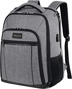 Laptop Backpack for Men, Travel Waterproof Backpack Durable College School Bookbag with Rain Cover and USB Charging Port Gift for Women Men, Business Computer Bag fit 15.6 Inch Laptop - Grey
