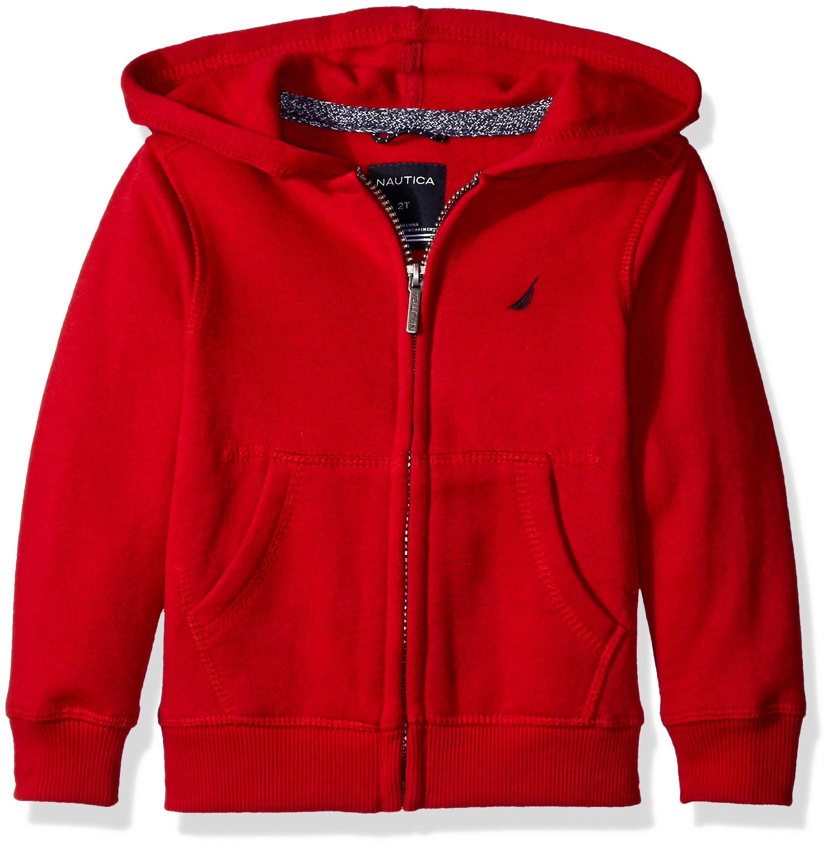 Nautica Big Boys Fleece Full Zip Hoodie with Pouch Pocket, Red Rouge, X-Large