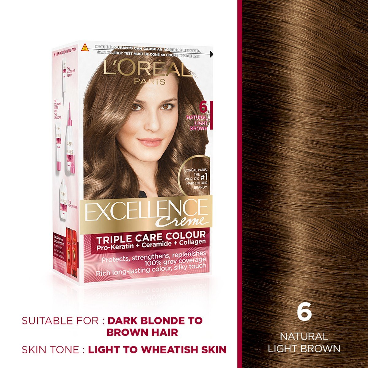 Buy L Oreal Paris Excellence Creme Hair Color 6 Natural Light Brown