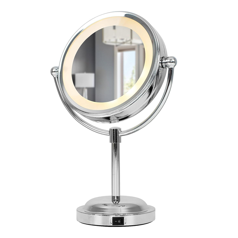 Specchio con luci a LED interni – regolabile, rotondo, colore cromo, operato a batteria, con ingrandimento – per bagno MiniSun