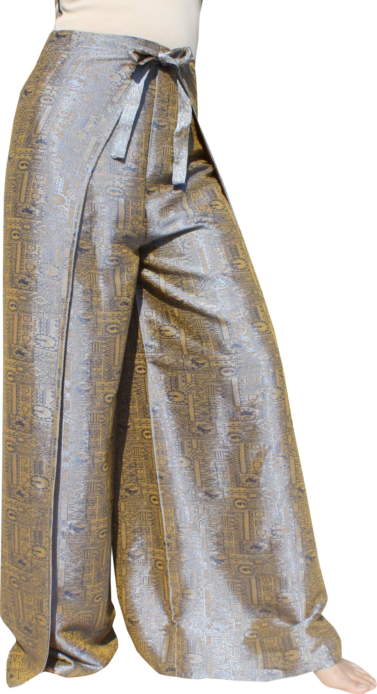 RaanPahMuang Brand Geometric Thick Textured Silk Drive In Wrap Pants, XX-Large, Silver Orange by RaanPahMuang