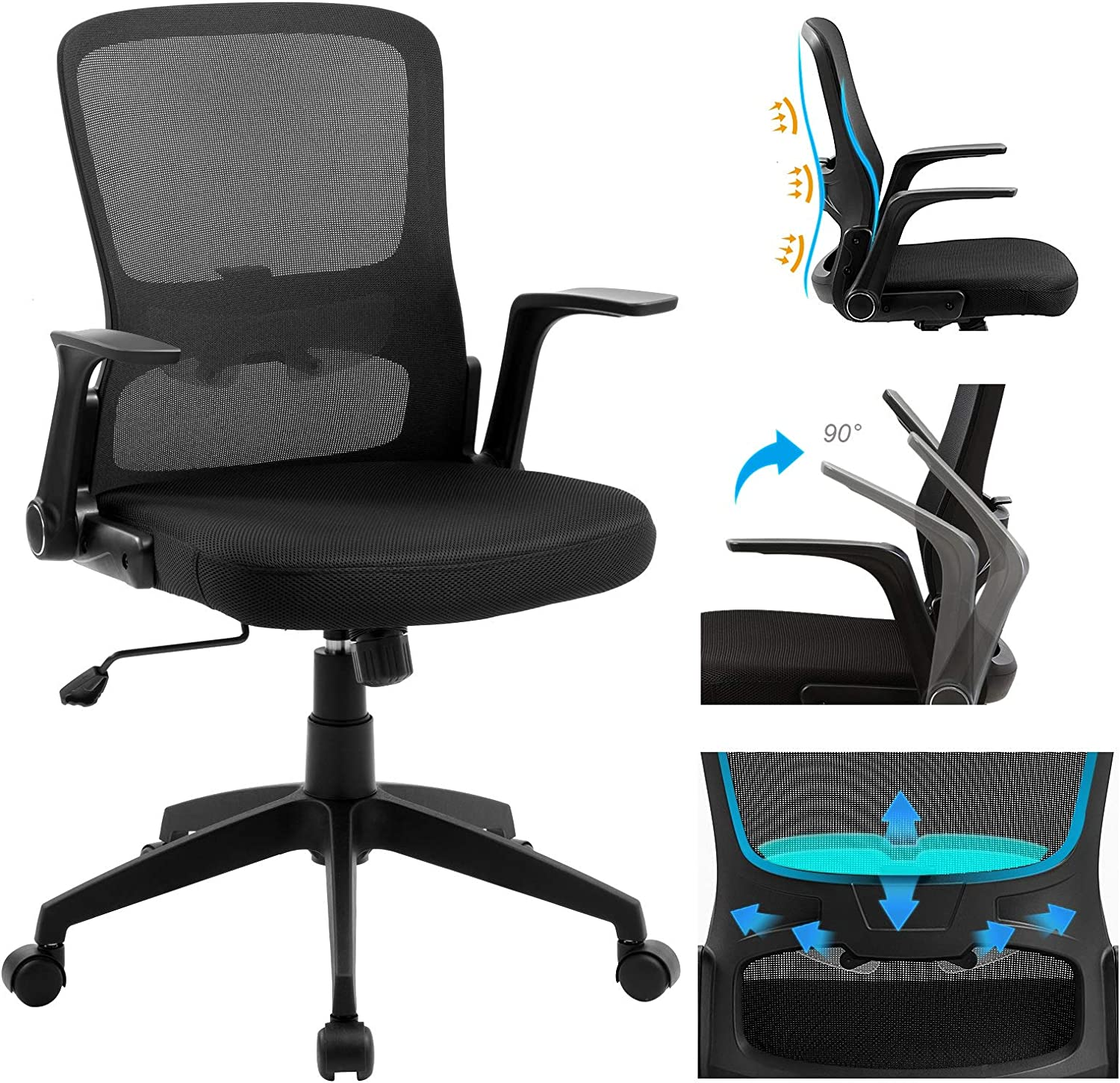 Anacci Office Chair Mid Back Desk Chair With Adjustable Lumbar Support Mesh Computer Chair With Flip Up Armrests Rocking Backrest Hold Up To 250lbs Black Kitchen Dining