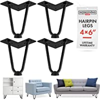 6 Inch Hairpin Legs - 4 Easy to Install Metal Legs for Furniture - Mid-Century Modern Legs for Coffee and End Tables, Chairs, Home DIY Projects + Bonus Rubber Floor Protectors by INTERESTHING Home