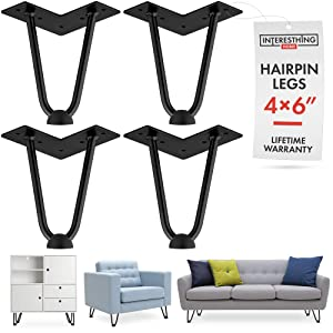 6 Inch Hairpin Legs – 4 Easy to Install Metal Legs for Furniture – Mid-Century Modern Legs for Coffee and End Tables, Chairs, Home DIY Projects + Bonus Rubber Floor Protectors by INTERESTHING Home