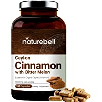 NatureBell Organic Ceylon Cinnamon Supplements, 1800mg Per Serving, 180 Capsules, Powerfully Support Sugar Metabolism…