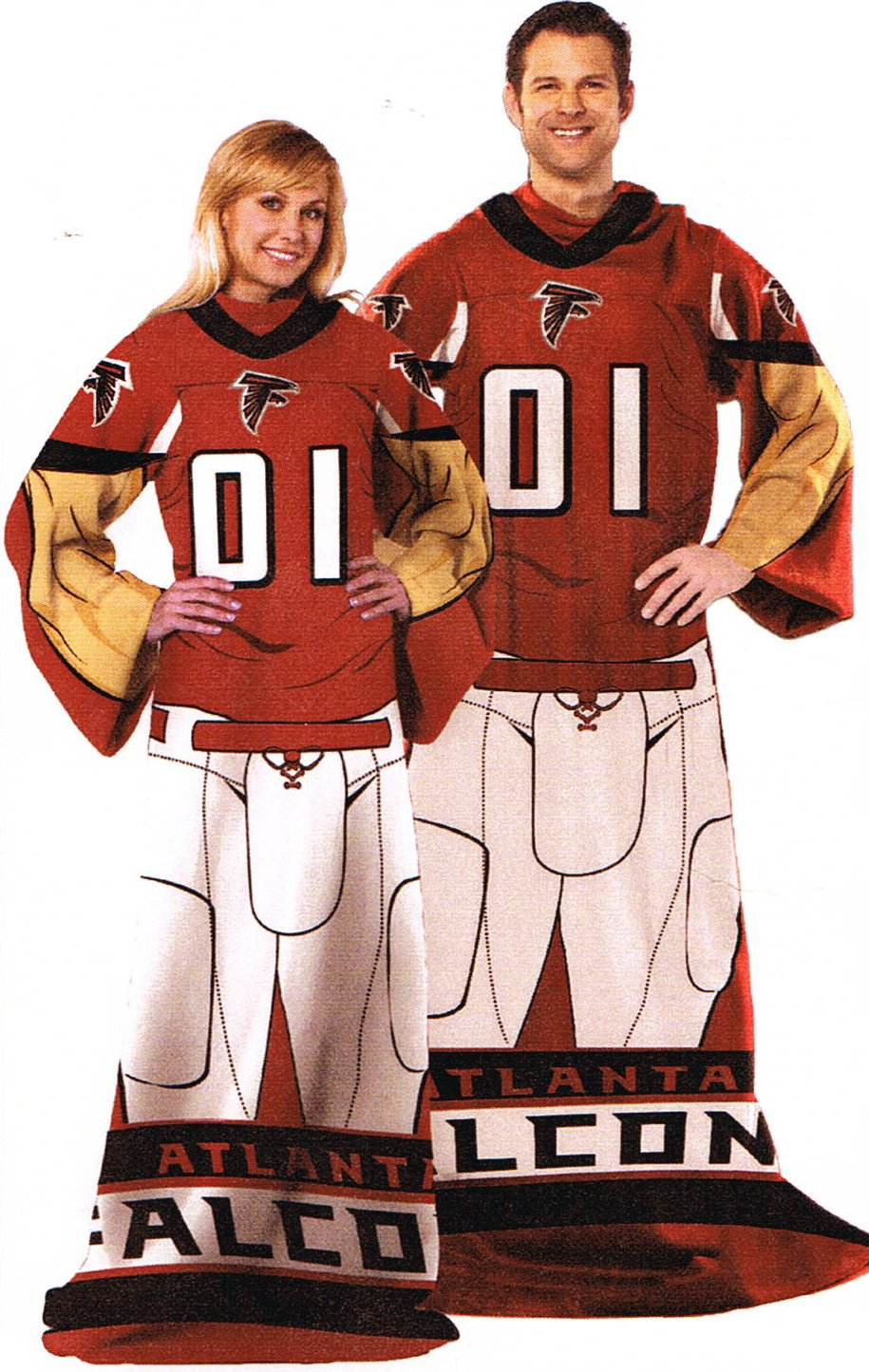 NFL Football Atlanta Falcons Comfy Throw ~ Blanket with Sleeves Large Unisex Adult Size