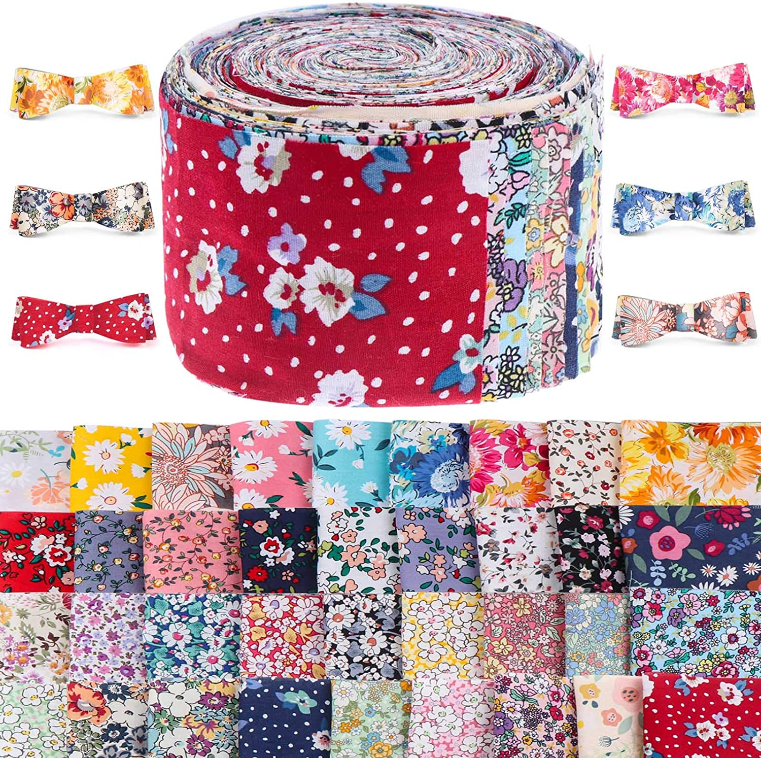 36 Pieces Jelly Rolls Fabric Roll Fabric Strips, Various Patterns Patchwork Craft Fabric Strips, Fabric Quilting Strips, Quilting Fabric Bundle