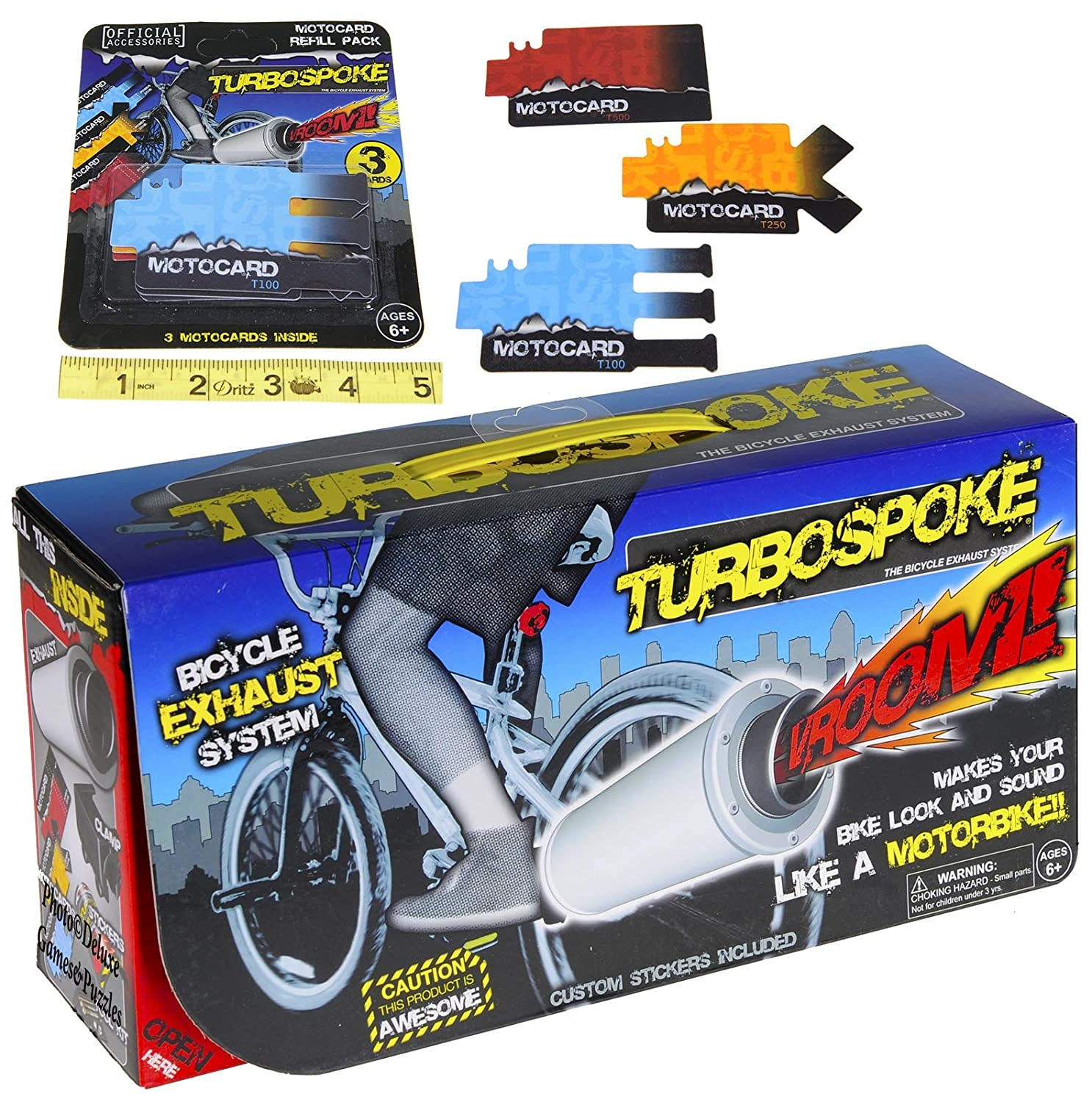 TurboSpoke Bicycle Exhaust System Add-On Accessory _ with BONUS MotoCard Refill 3-Pack _ Bundle
