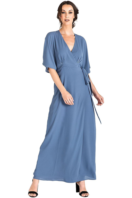 363aa522042 Standards   Practices Modern Women s Blue Woven Chiffon Kimono Wrap Maxi  Dress Size L at Amazon Women s Clothing store