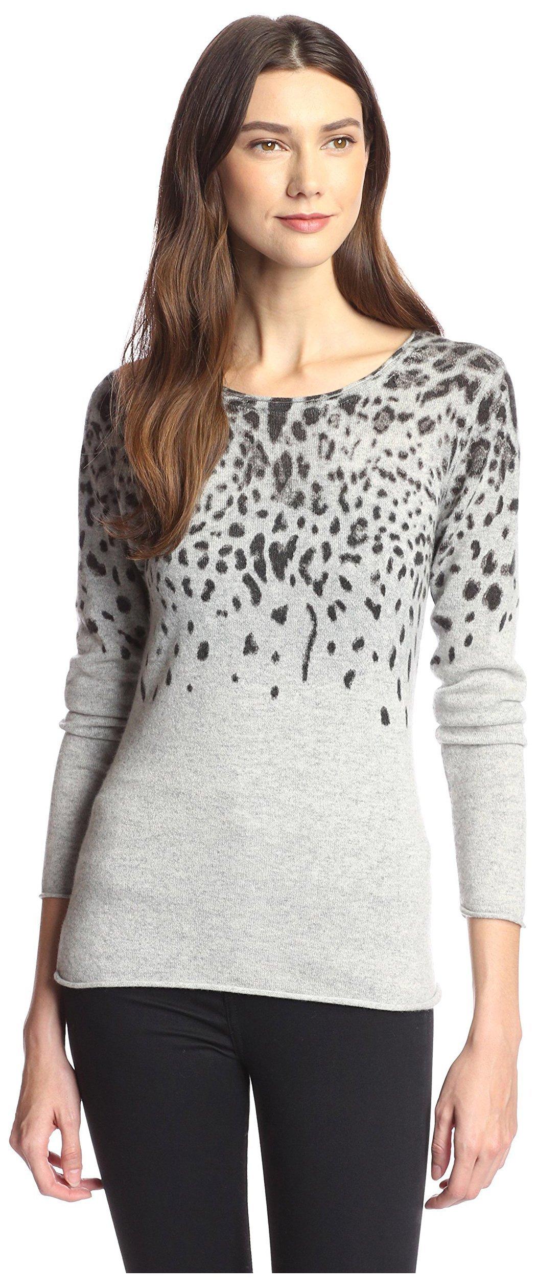 James & Erin Women's Cashmere Leopard Crewneck Sweater, Grey Multi, M