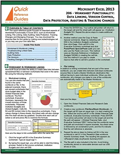 Amazon.com : Microsoft Excel 2013 Quick Reference Guide ...
