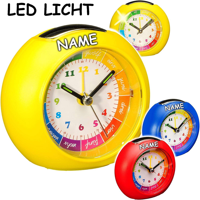 LED Licht f/ür Jungen Name Analog Lernwecker Lern.. inkl bunter Farbmix Lichtwecker + -1 Minuten Schritten Anzeiger alles-meine.de GmbH Kinderwecker // Lernuhr