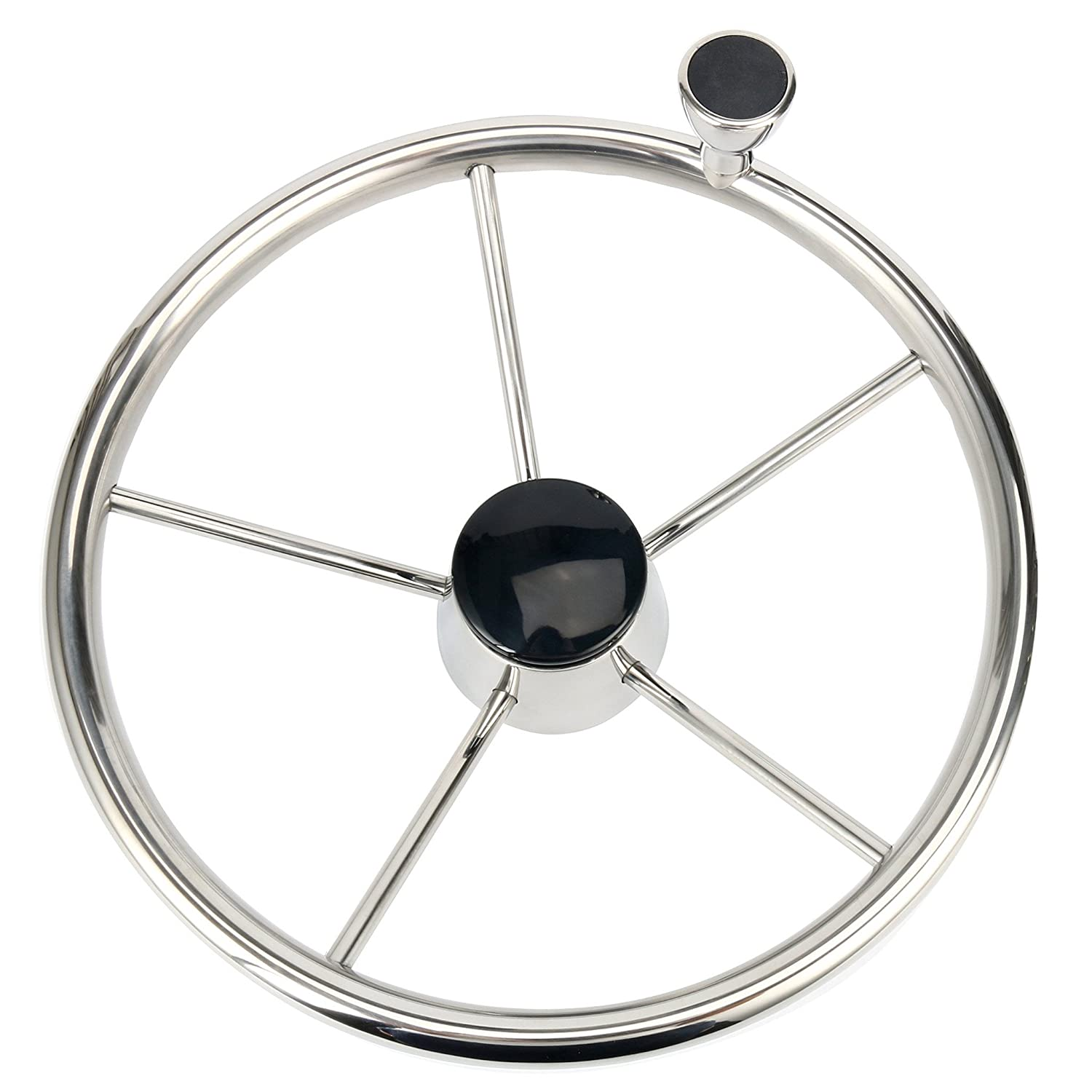 Stainless Steel 5-spoke 13-1/2 Inch Boat Steering Wheel with Knob xingbailong