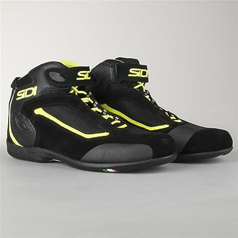 Zapatillas de Moto Sidi Gas Negro-Amarillo Fluo 42