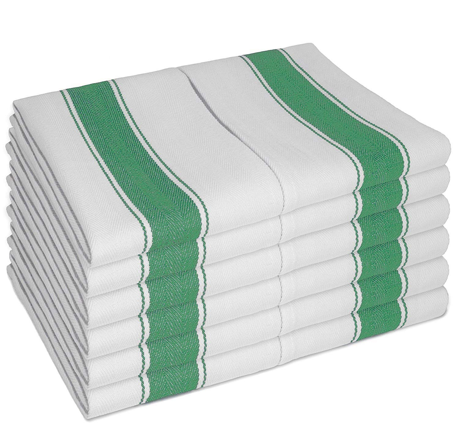 Vintage TEA TOWELS 12pk With Loop (100% Cotton Large 70X50 cm) - Longer Lasting, Super Absorbent In White with Green Stripes - Unique Herringbone Design for Fast Drying & Low Lint -