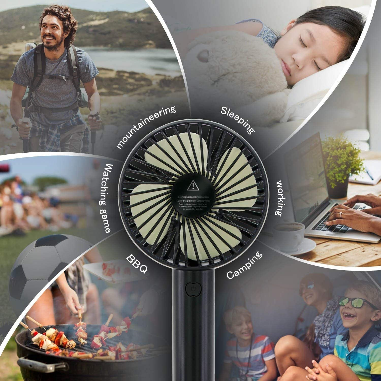 Hanging Handheld Fan USB Rechargeable Battery Operated 2018 Creative Macaron Fan for Traveling Fishing Camping Shopping Learning Working(3 Speed Black) Handheld and Desk Fan Mini Portable Fan