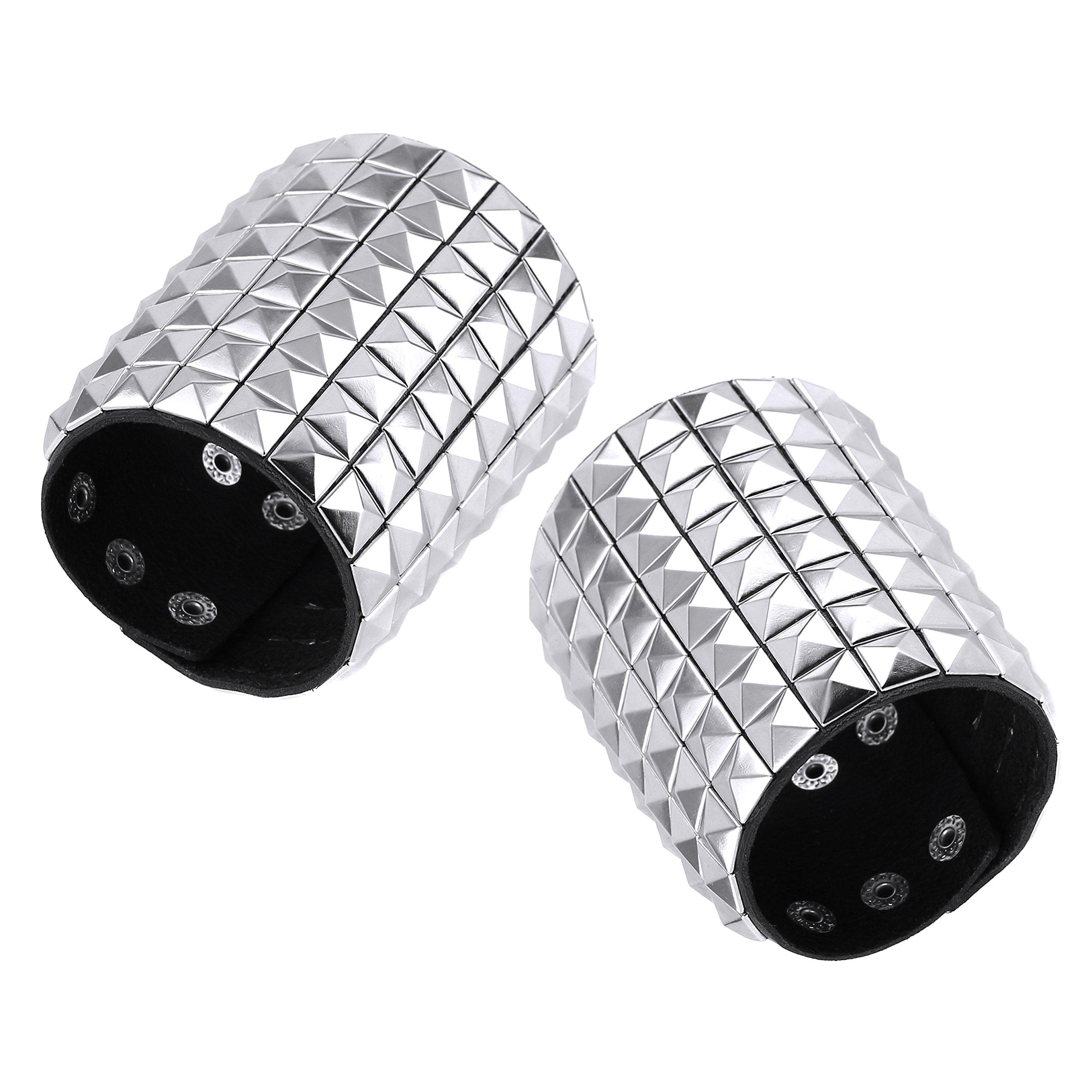 HZMAN Silver Studded Leather Wide Nickel Pyramid Stud Cuff Wrap Gauntlet Wristband Buckle Fastening Arm Armor Cuff (2 Pcs a Set)