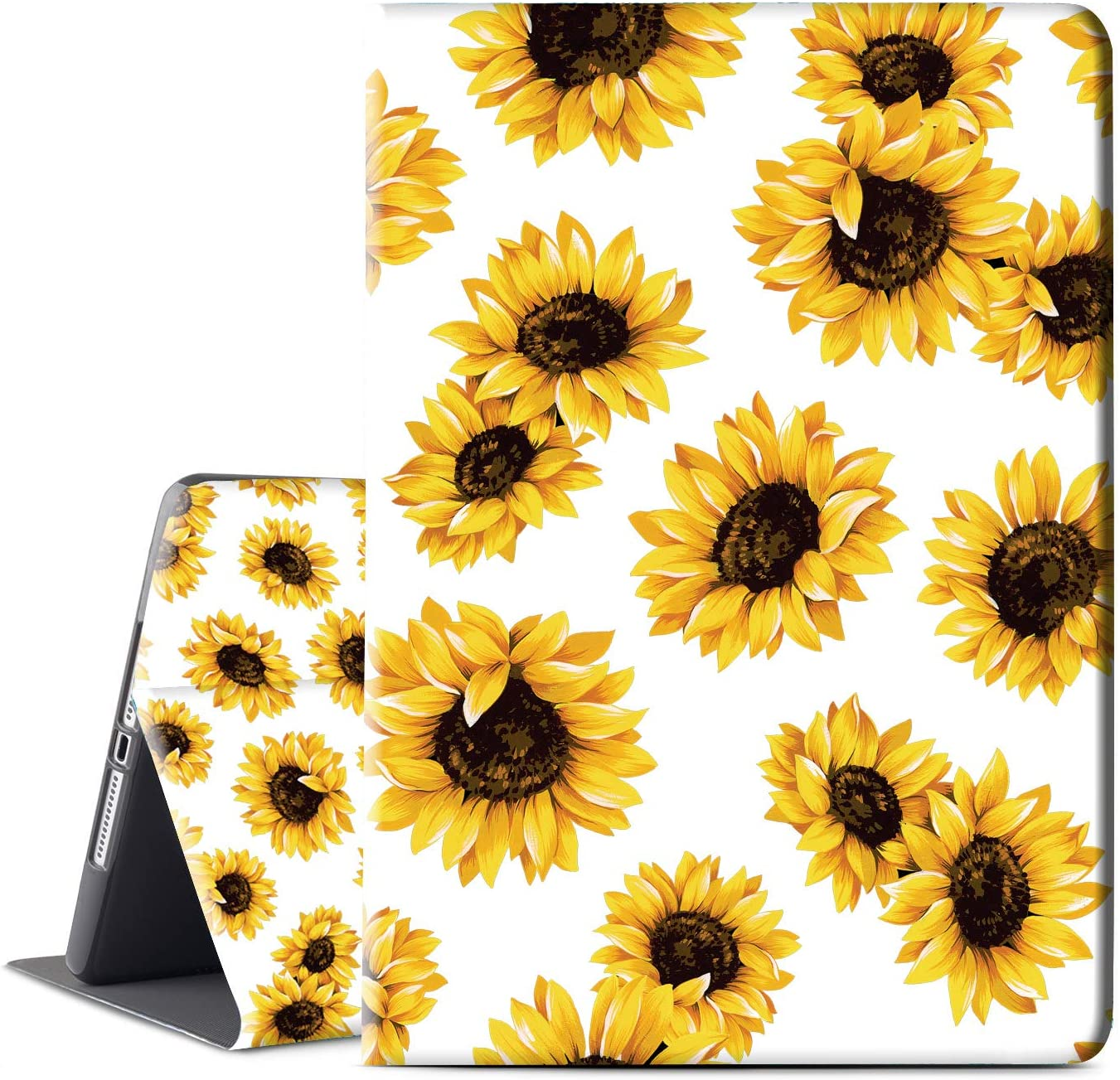 """INSSISAIN Smart Case for iPad 8th Generation Case / iPad 7th Generation iPad 10.2 Case 2020 2019, PU Leather Protective Cover with Auto Sleep for 10.2"""" iPad 8th Gen & 7th Gen, Sunflower"""