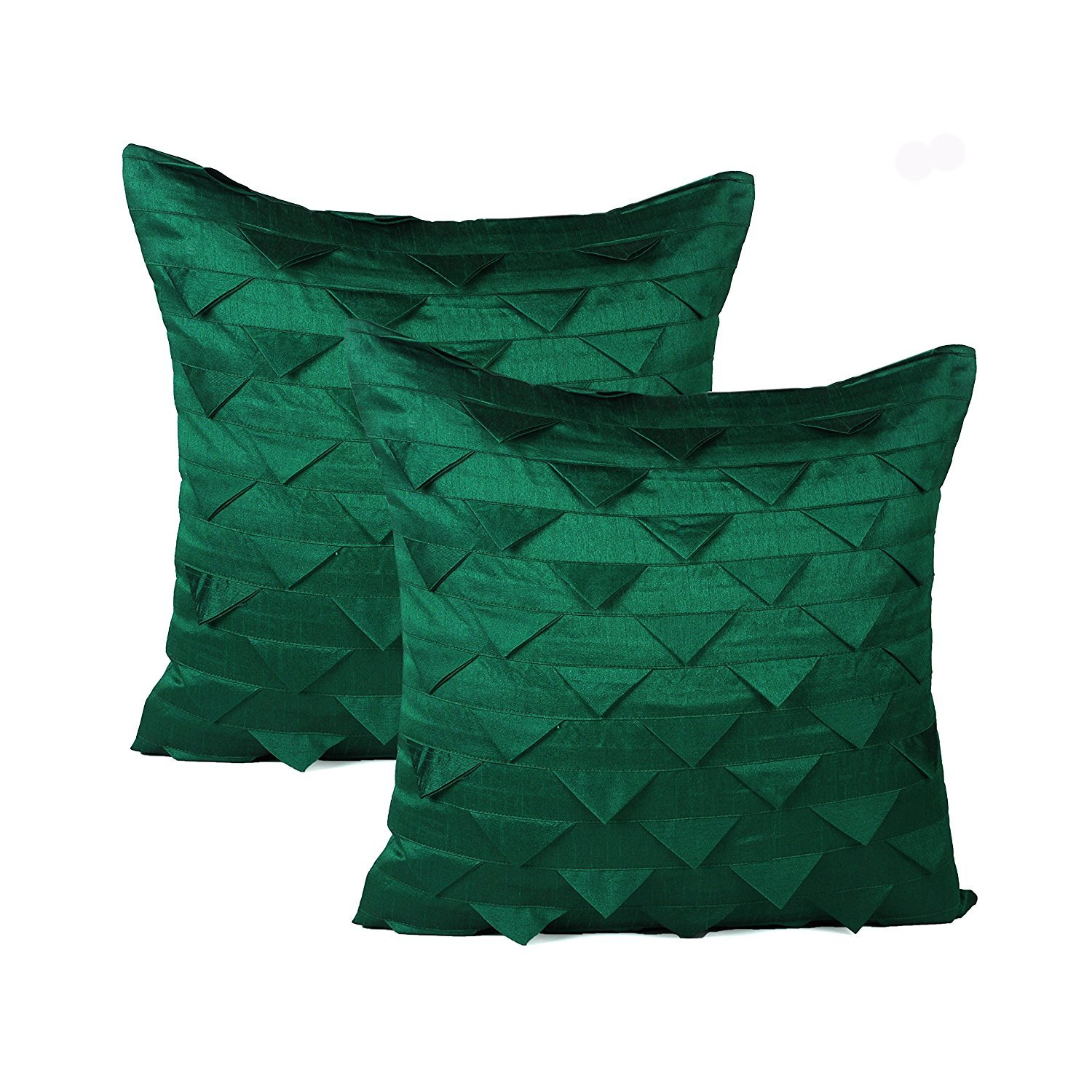 The White Petals Set of 2 Emerald Green Accent Pillow Covers, Origami Style, Textured (Solid Emerald Green, 20x20 inches)