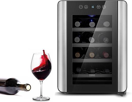 Opinión sobre Caso WineCase Red 12 - Enfriador de vino de diseño, especialmente para vino tinto, 12 botellas, temperatura ajustable de 10 a 18 °C, clase de eficiencia energética A