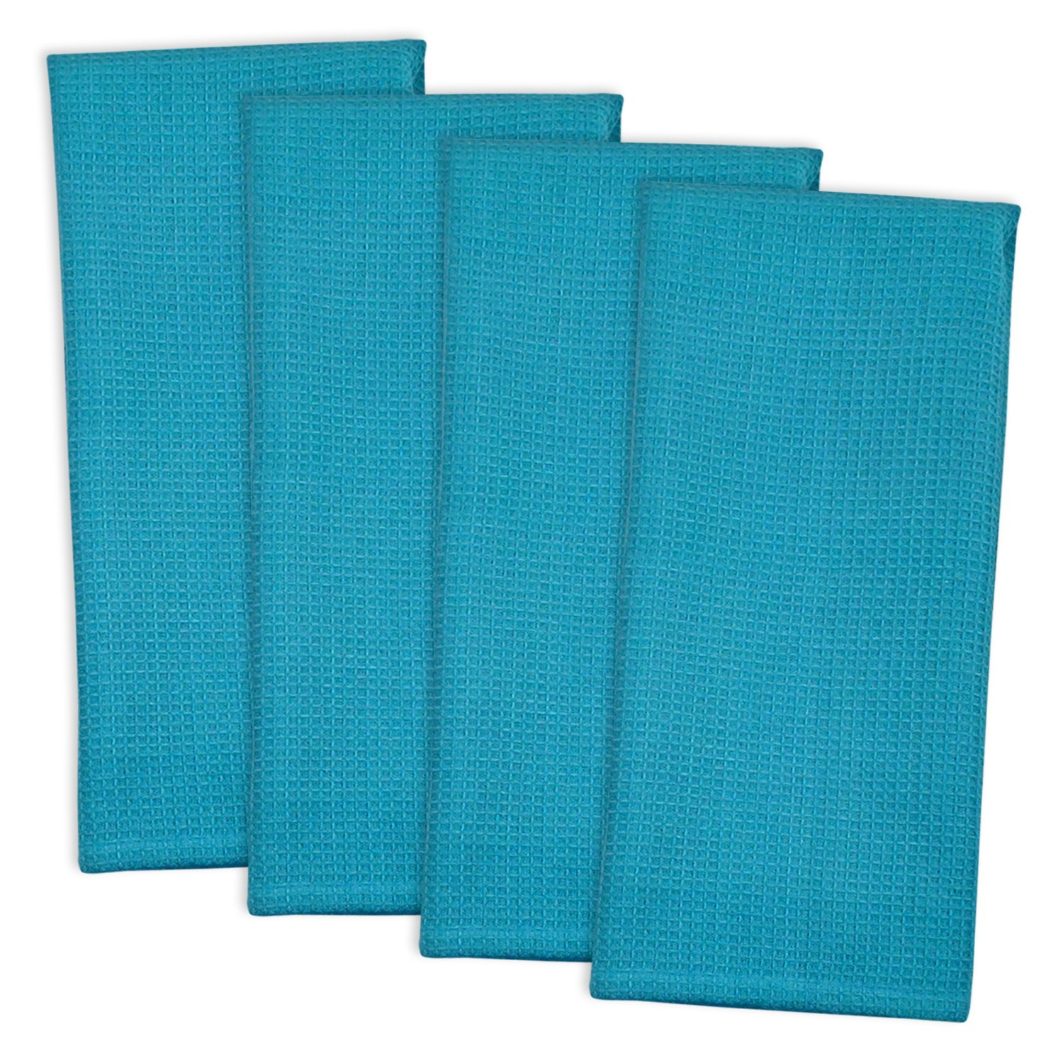 DII 100% Cotton, Machine Washable, Monogrammable Blanks, Solid Waffle Dishtowel, 18 x 28'', Set of 4- Mosaic Blue