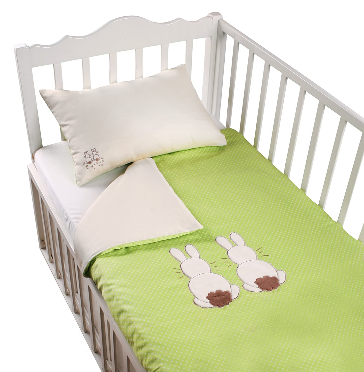 Tots by Smart Rike 280 203 Joy Bed Linen Set, 100% Cotton Satin Duvet Cover 100 x 135 cm and 1 Pillowcase 60 x 40 cm, Rabbit green ToTs by Smartrike 280-203