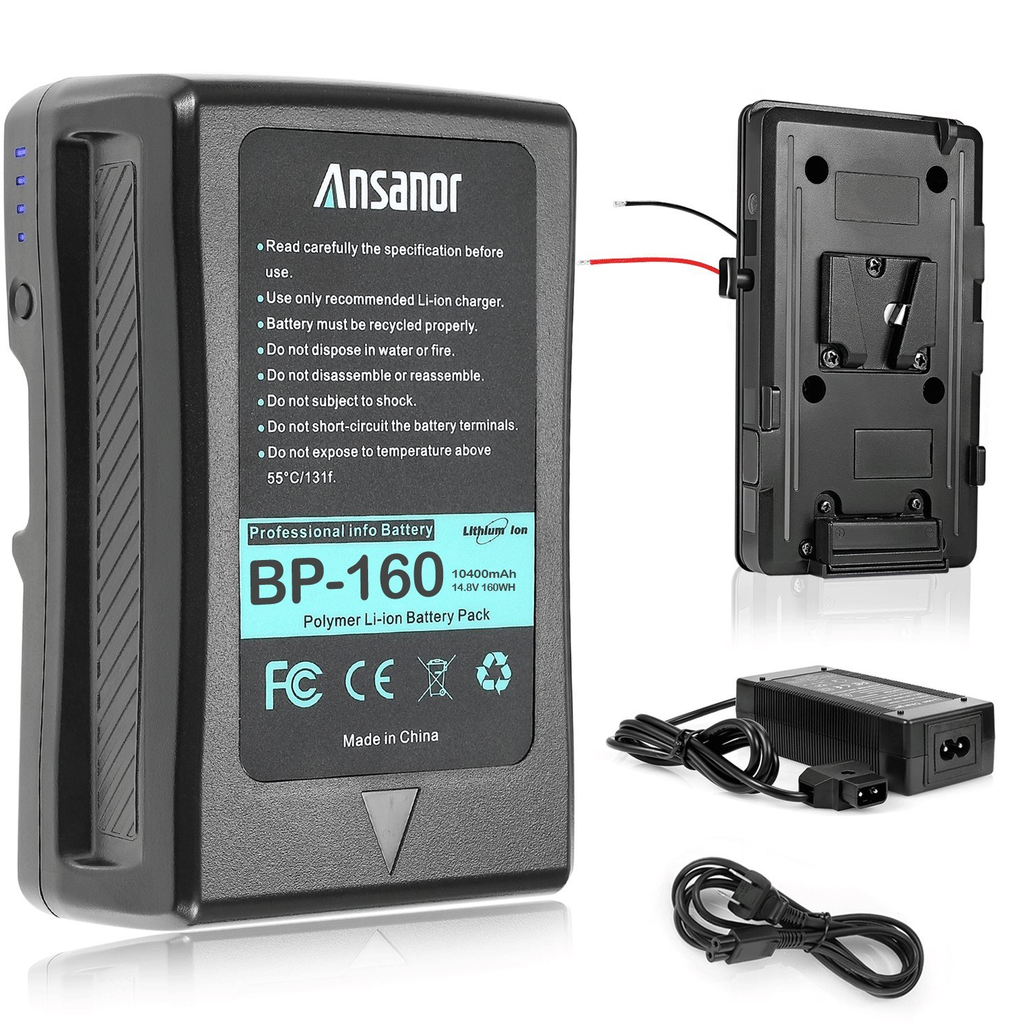 Ansanor V-Mount battery V-lock plate and Charger for Video Camera Camcorder (160 Watt Hour)