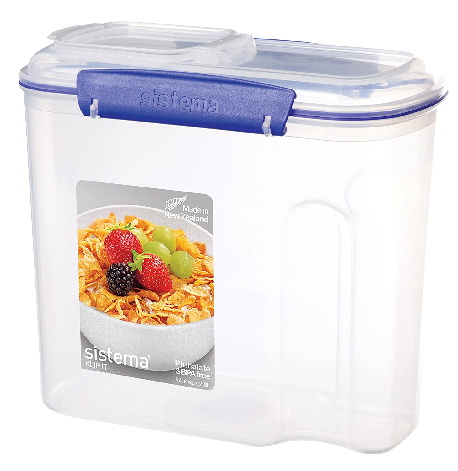 Clear//Blue 94.0 oz.//2.7 L Sistema KLIP IT Utility Collection Cereal Container
