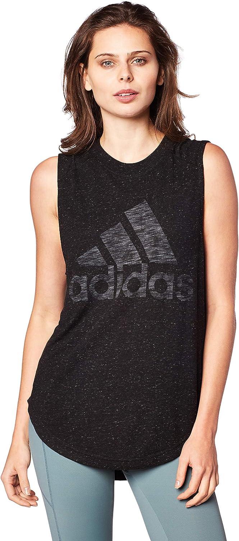 adidas Women's Athletics Graphic Drop Hem Muscle tee: Clothing