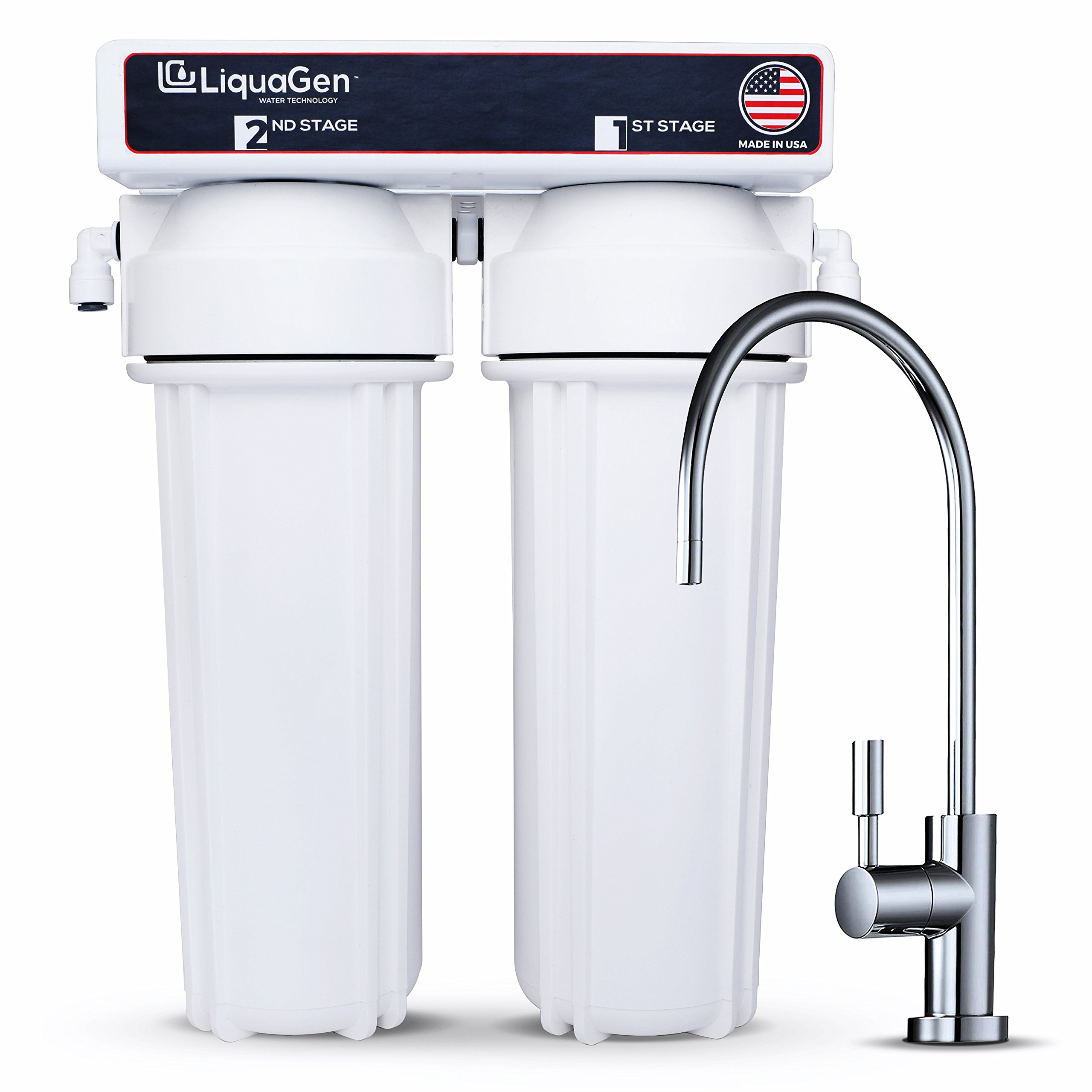 LiquaGen - 2 Stage Zero Waste Under Sink High Flow Drinking Water Purification System (White)