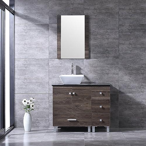 BATHJOY 36 Bathroom PLY Wood Vanity Cabinet Single Square Ceramic Vessel Sink Top Faucet Drain