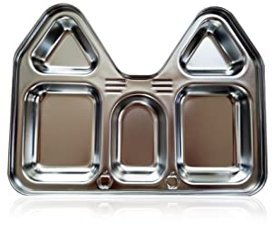 Kids Stainless Steel Section Plates, BPA Free Safe Fun Non-Toxic Highest Quality House Shape Divided Dish for Picky Eaters Babies Toddler Heavy Duty (2 Plates)