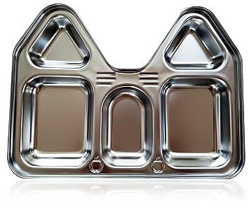 Amazon.com: Niños platos de sección de acero inoxidable ...