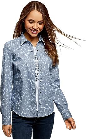 oodji Ultra Mujer Camisa Vaquera Estampada, Azul, ES 44 / XL: Amazon.es: Ropa y accesorios