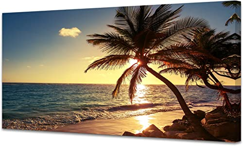 Muolunna S04975 Wall Art Decor Large Canvas Print Picture Sunset Ocean Beach Waves 1 Panel Coconut Tree Scenery Painting Artwork