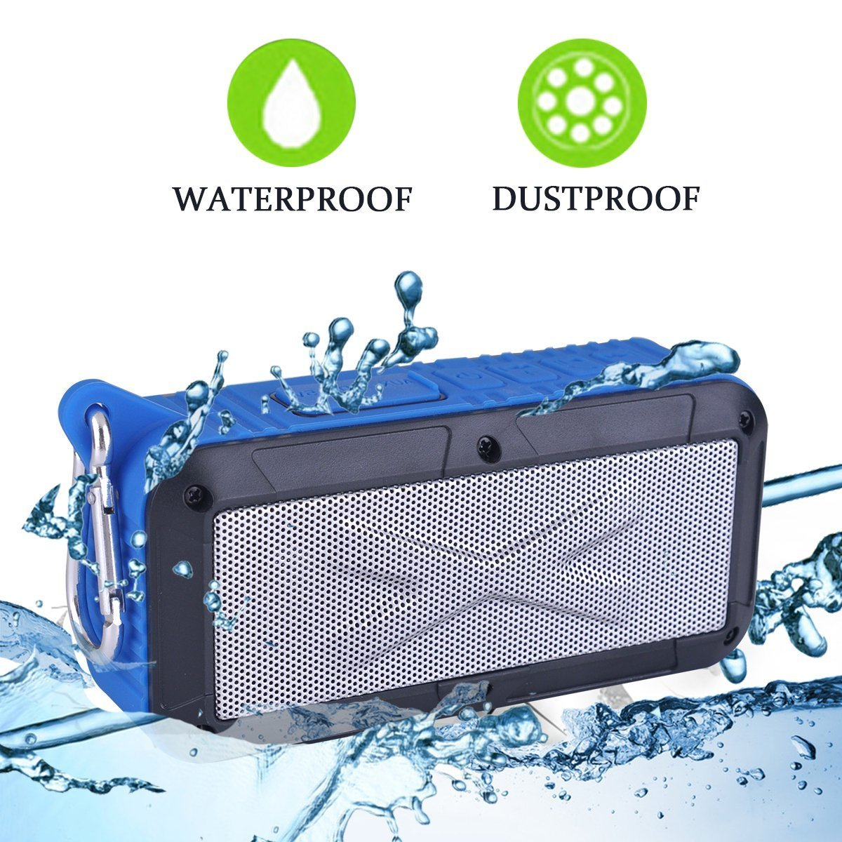 Solar/Battery Powered 2x3W Bluetooth Speaker Splashproof Portable Wireless MP3 Player With Built-in Micphone, FM Radio/MicroSD Card (Blue)