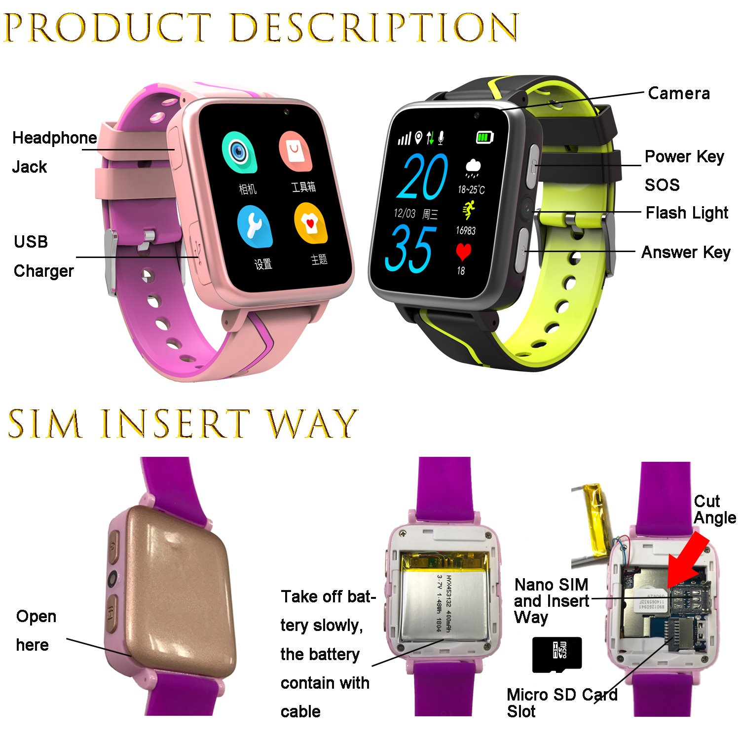 Jesam Kids Music Player Smart Watch - Smart Watch with Mp3 FM Player Watch [with 1GB Micro SD Card] and Camera Flashlight SIM Slot Phone Call Voice Chat for Students Age 4-12 (Pink&Rose) by Jesam (Image #8)