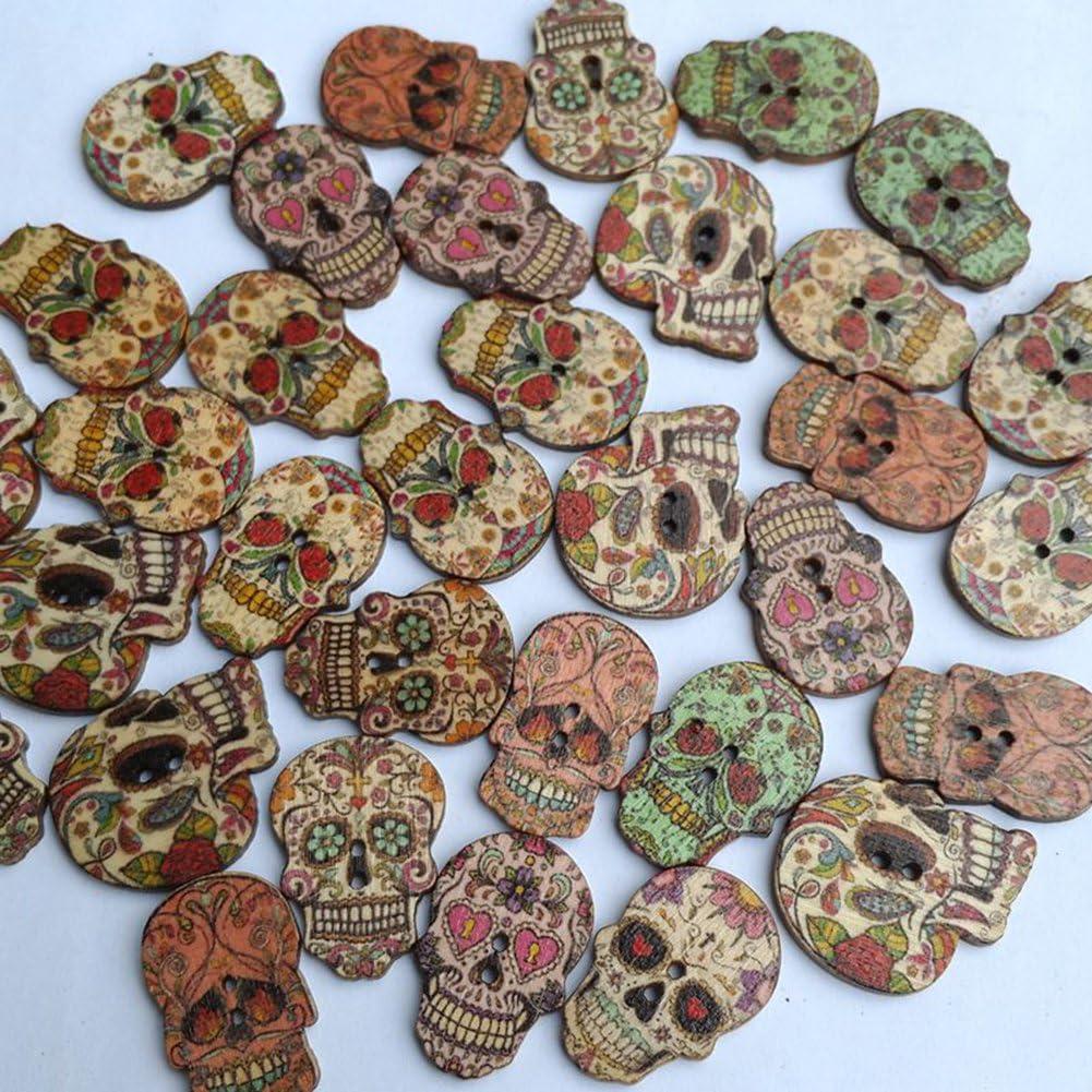 "SUGAR SKULL 2-hole Wooden Buttons about 1/"" each Scrapbook Craft 6042 Assorted"