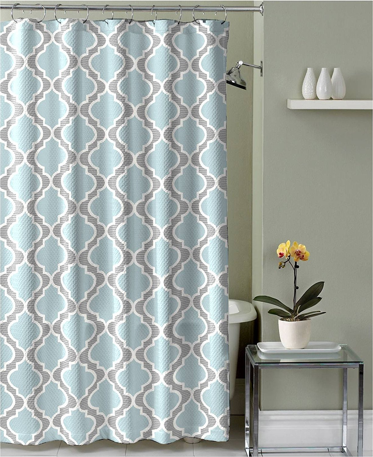 Gray and blue shower curtain - Amazon Com Light Aqua Grey White Embossed Fabric Shower Curtain Moroccan Design Home Kitchen